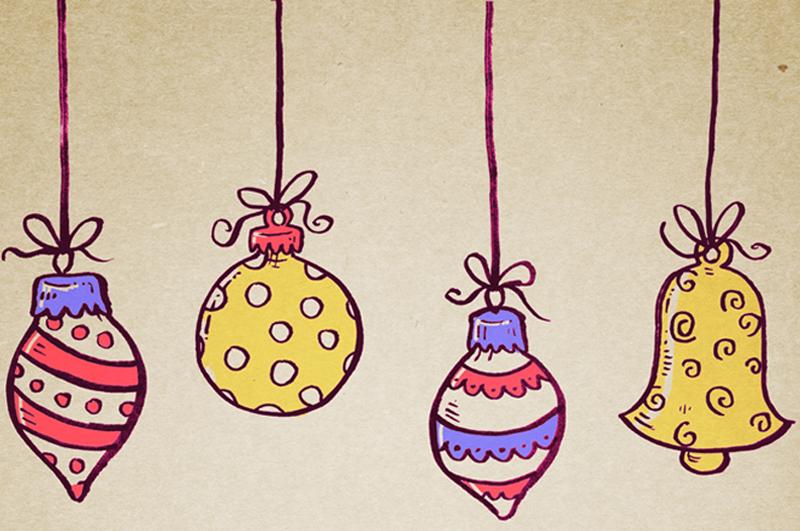 Weihnachtsgrafik mit Glocken