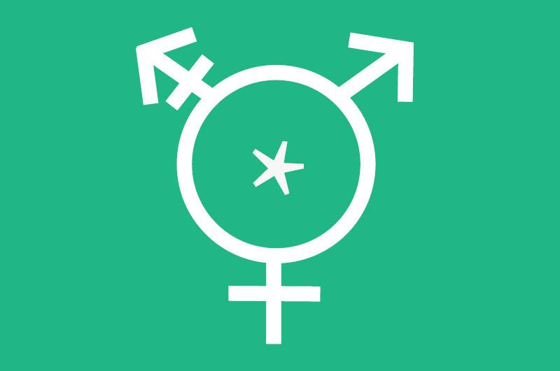 Ein Symbol, bestehend aus den Zeichen für männlich, weiblich und die dritte Geschlechtsidentität
