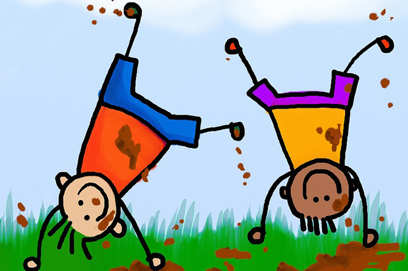 Zeichnung von spielenden Kindern