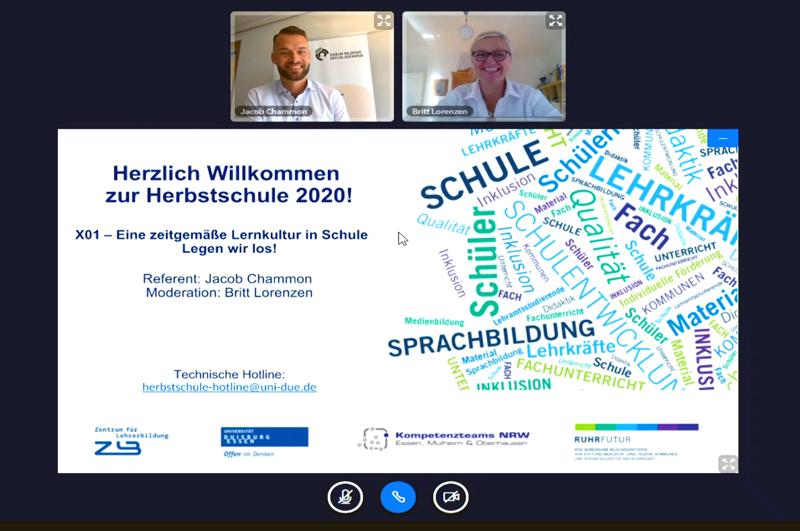 Ansicht aus BigBlueButton mit der Folie des Eröffnungsvortrags und dem Referenten sowie der Moderatorin