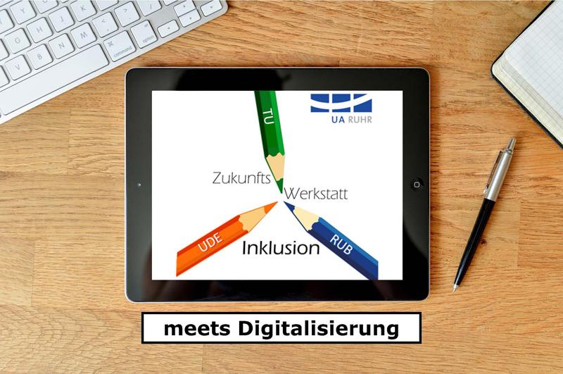 """Ein Tablet auf einem Holztisch mit dem Logo der Zukunftswerkstatt Inklusion und dem Zusatz """"meets Digitalisierung"""""""