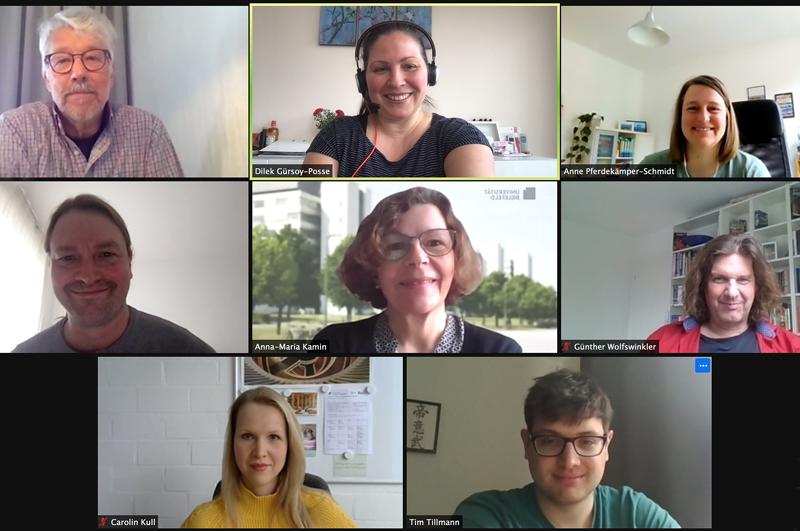 Screenshot der Videokonferenz mit Bildern der Organisator*innen und Vortragenden