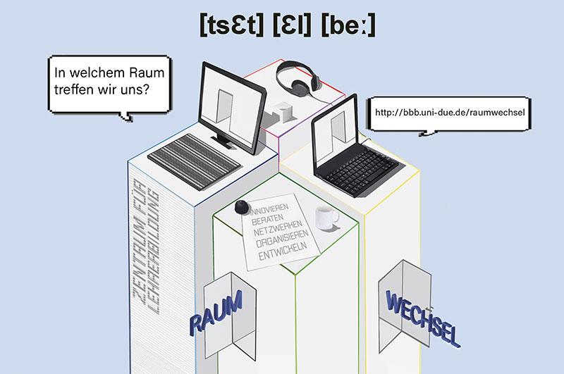 Das Cover des ZLB-Magazins: Quadratische Säulen mit Laptops