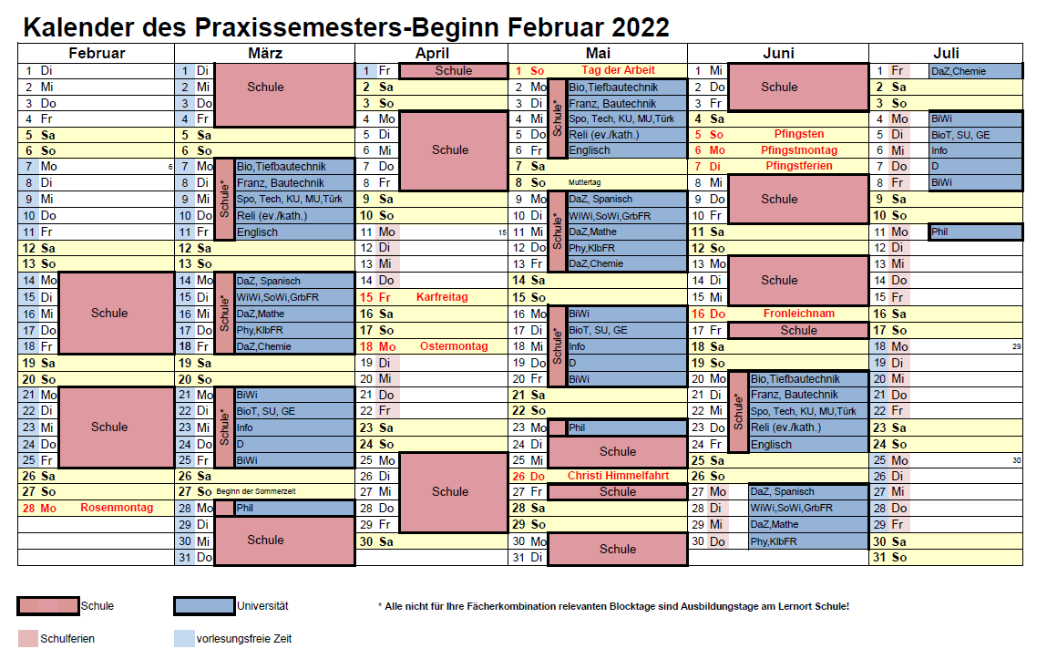 Kalender Praxissemester Feb 2021