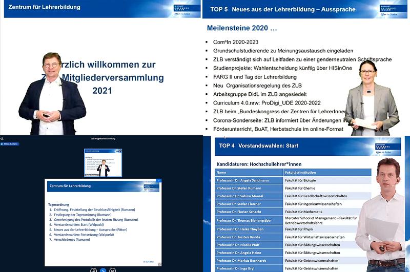 Collage aus vier Bildern, zu sehen sind: Professor Dr. Stefan Rumann, Professor Dr. Maik Walpuski, Dr. Anja Pitton und ein Screenshot der Tagesordnung.