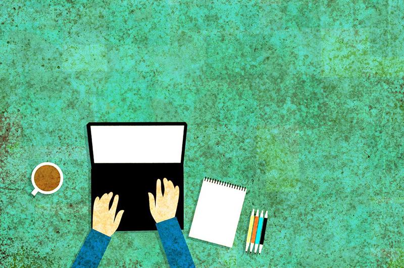 Grafik, die Hände mit einem Laptop zeigen, daneben Stifte und einen Block