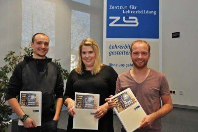 Die drei studentischen Vertreterinnen und Vertreter Matthias Sommer, Julia Stiehls und Benjamin Grabowski